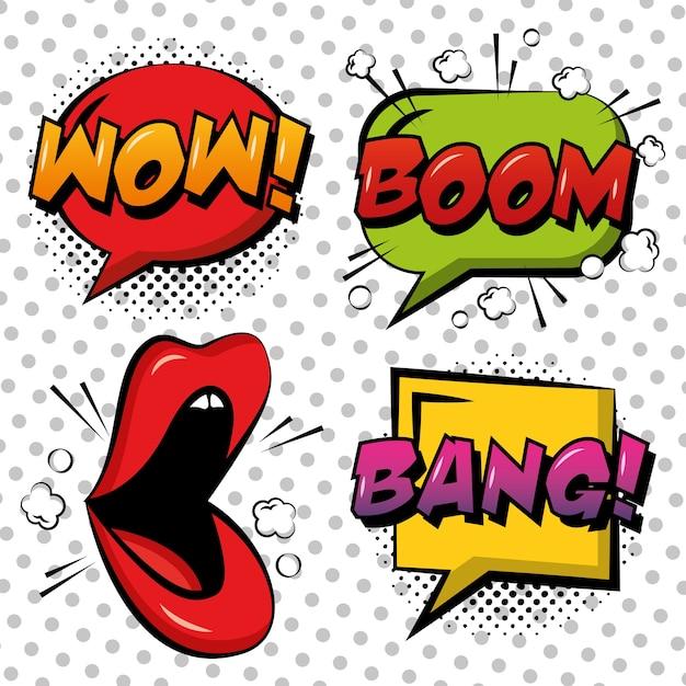 Bulles de bande dessinée pop art lèvres bulle wow boom bang fond de points blancs Vecteur Premium