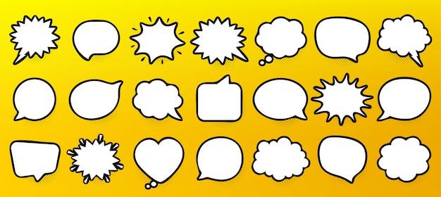 Bulles bd. penser et parler des nuages. formes de bulles rétro. ombre de demi-teintes. Vecteur Premium