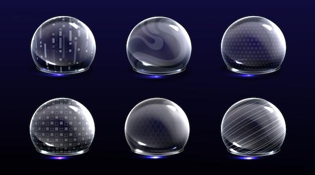 Bulles De Bouclier De Force, Diverses Sphères De Lueur D'énergie Vecteur gratuit