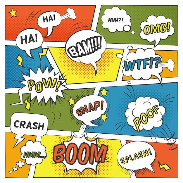 Bulles comiques émotionnelles et sonores avec splash boom et omg flat Vecteur gratuit