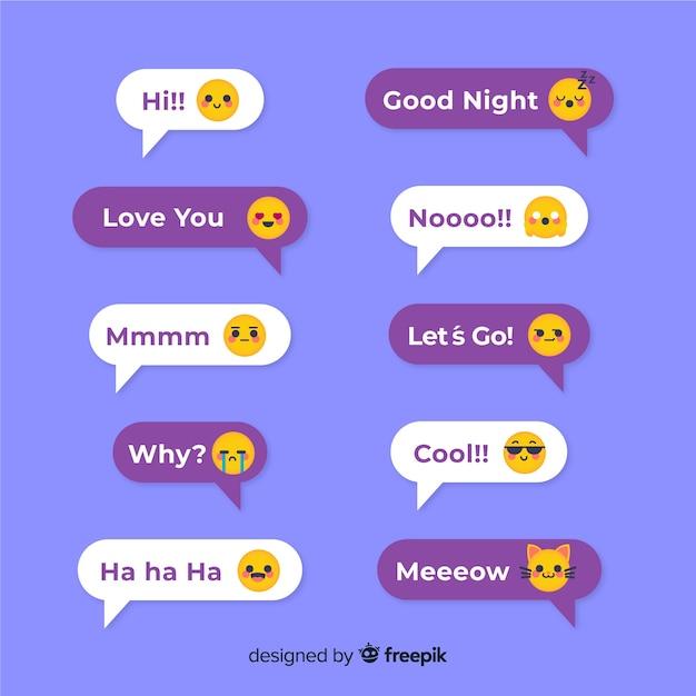 Bulles de messages de design plat avec des emojis Vecteur gratuit