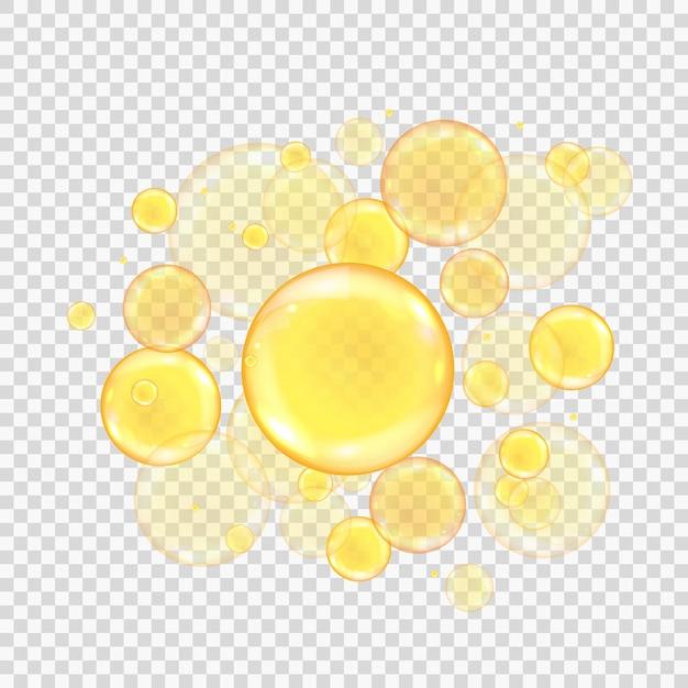 Bulles D'or D'huile Isolées Sur Fond Transparent. Boules De Collagène Or Réalistes. Vecteur Premium