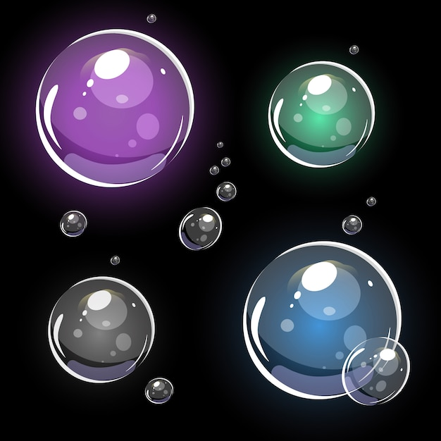 Bulles de savon transparentes. vecteur coloré 3d. isolé sur fond noir Vecteur Premium