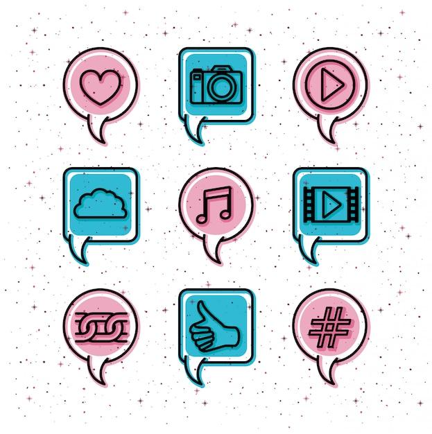 Bulles avec la tendance des médias sociaux définie des icônes Vecteur Premium