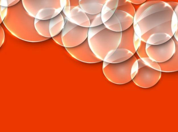 bulles transparentes sur fond rouge