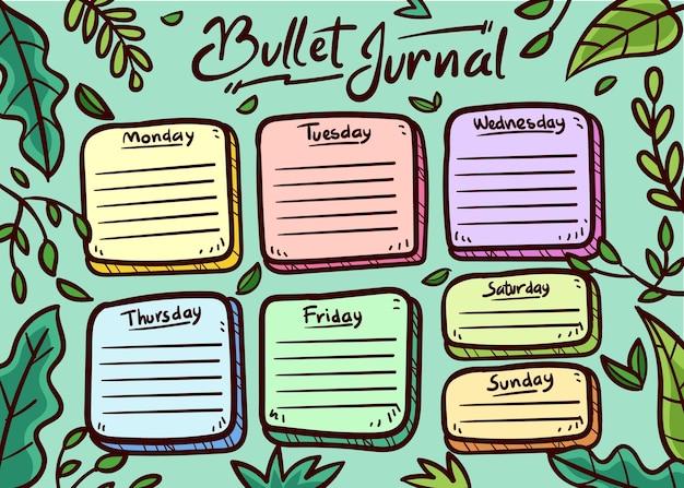 Bullet Journal Planificateur En Semaine Vecteur Premium
