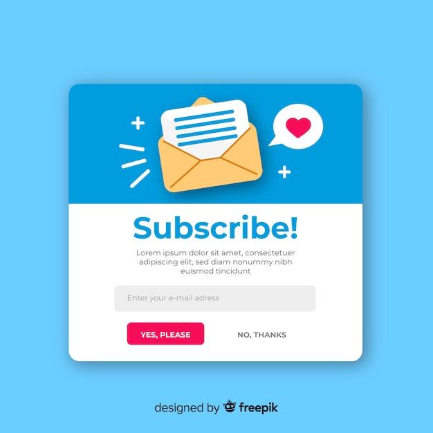 Bulletin d'information fond plat Vecteur gratuit