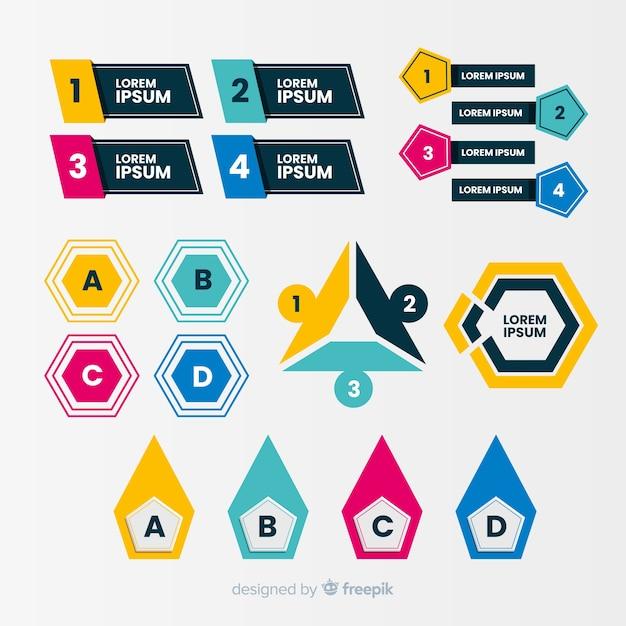 Bulletins Infographiques Design Plat Vecteur gratuit