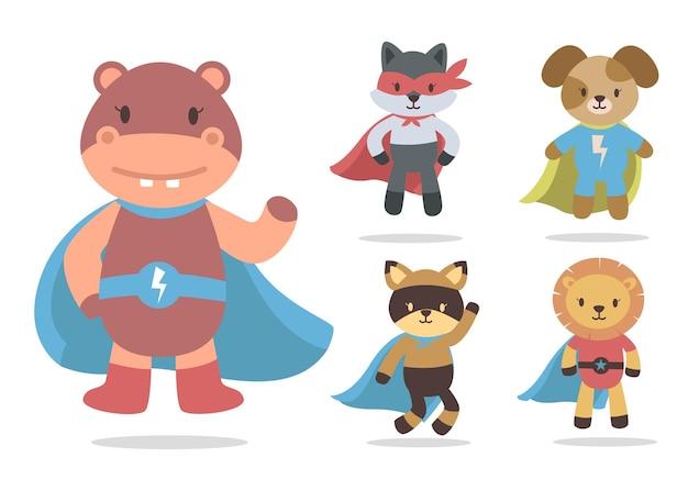 Bundle De Dessin Animé Animal Mignon Avec Collection De Personnages De Mascotte Super Héros Vecteur gratuit
