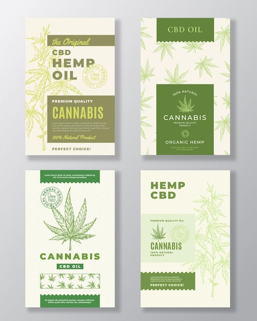 Bundle D'étiquettes Abstraites D'huile De Chanvre Cbd. Vecteur Premium