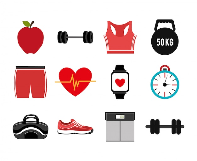 Bundle de fitness mis en icônes Vecteur gratuit