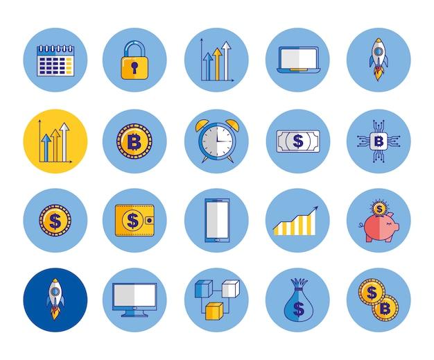 Bundle D'icônes De L'économie Et Des Finances Vecteur gratuit