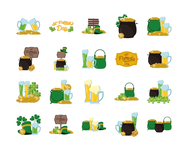Bundle d'icônes de la saint patrick Vecteur Premium