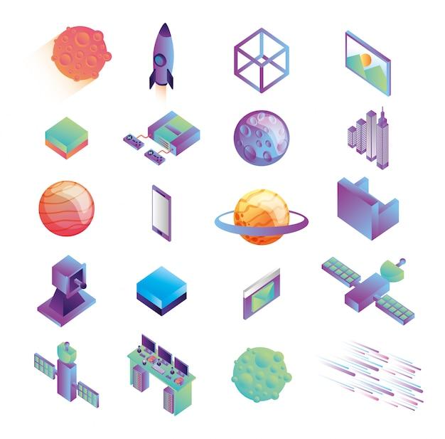 Bundle D'icônes De La Technologie De Réalité Virtuelle Vecteur gratuit