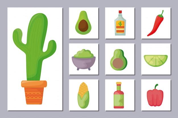 Bundle mexicain traditionnel set d'icônes Vecteur Premium