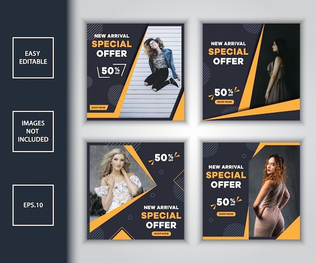 Bundle De Modèles De Conception De Publication De Médias Sociaux De Vente De Mode Vecteur Premium