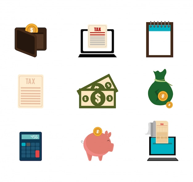 Bundle of business set icons Vecteur gratuit