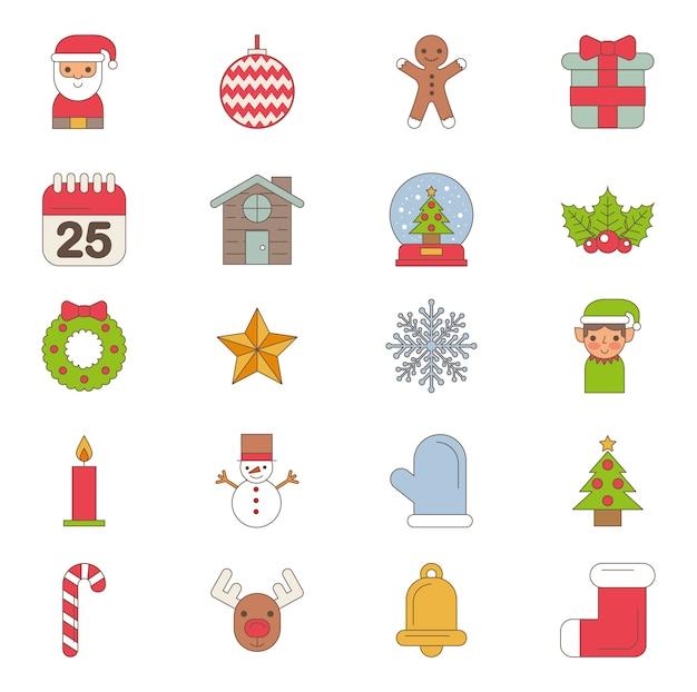 Bundle Of Joyeux Noël Set D'icônes Vecteur gratuit