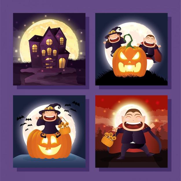 Bundle de scènes d'halloween Vecteur gratuit