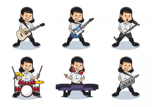 Bundle Set Illustration De Jolies Filles Jouant De La Musique Avec Le Concept De Groupe Complet. Vecteur Premium