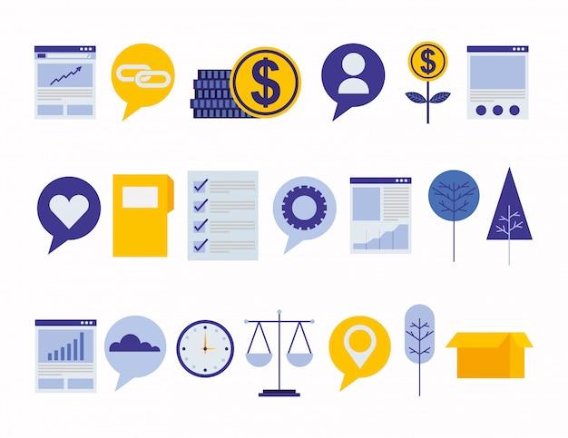 Bundle de stratégie et de données Vecteur gratuit