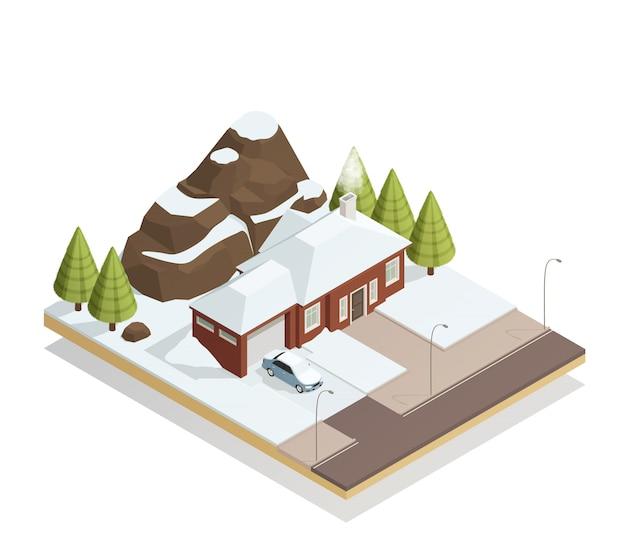 Bungalow d'hiver paysage isométrique Vecteur gratuit