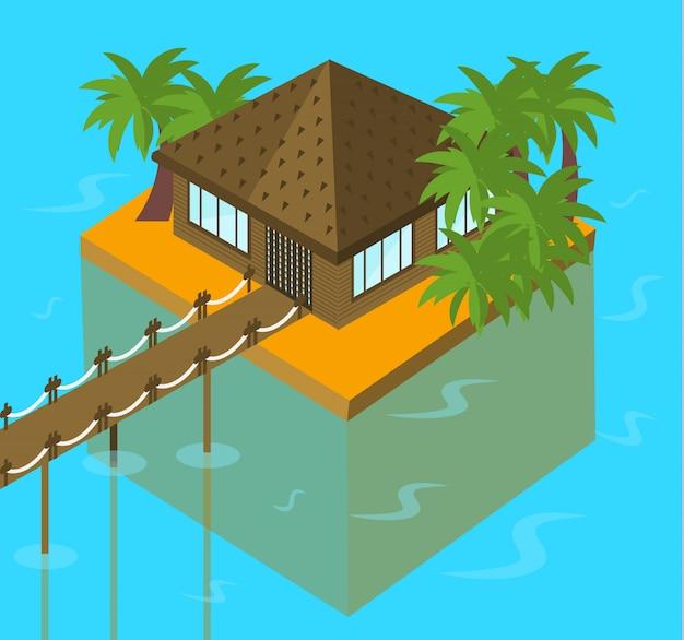 Bungalow océan avec des palmiers Vecteur Premium