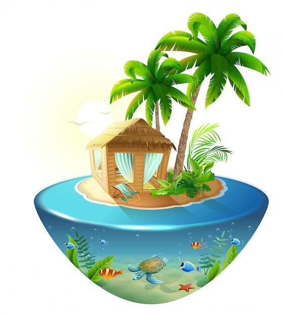 Bungalow sous les palmiers sur une île tropicale Vecteur Premium