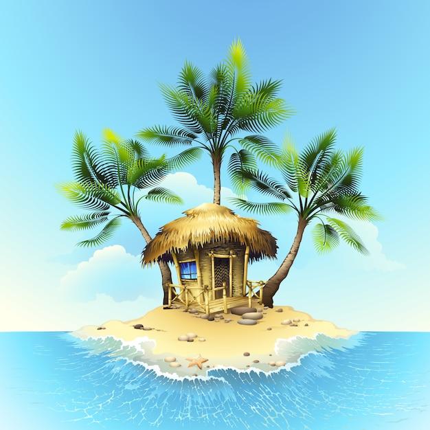 Bungalow Tropical Sur L'île Dans L'océan Vecteur Premium