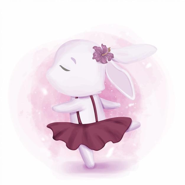 Bunny girl dancing like ballerina Vecteur Premium