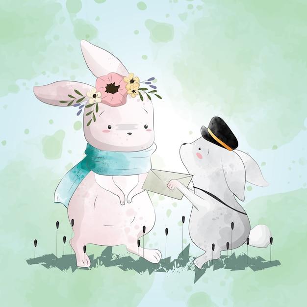 Bunny reçoit une lettre Vecteur Premium