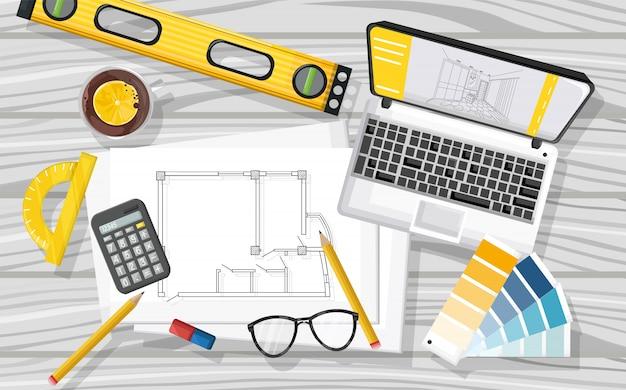 Bureau D'architecte Avec Ordinateur Portable, Outil De Niveau, Thé, Verres, Calculatrice, Plan Directeur Vecteur gratuit