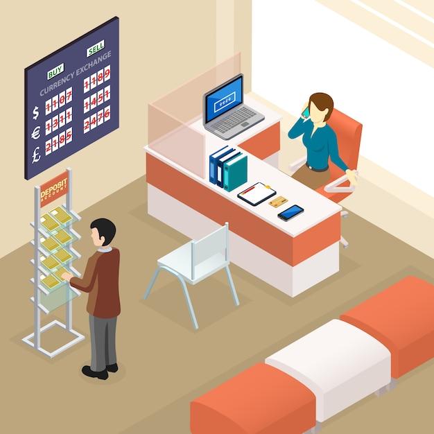 Bureau De Banque Isométrique Vecteur gratuit