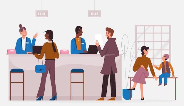 Bureau De Banque Travaillant Avec Les Clients, Service Bancaire Vecteur Premium