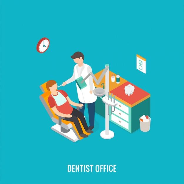 Bureau De Dentiste 3d Isométrique Pendant La Réception Du Patient. Vecteur Premium