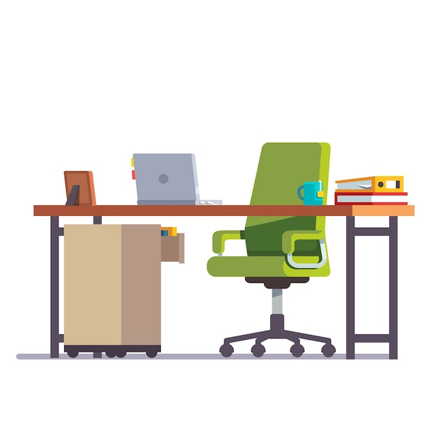 Bureau à domicile ou à bureau avec chaise à roulettes Vecteur gratuit
