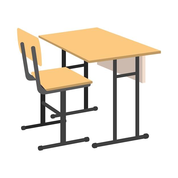 Bureau d'école de dessin animé. illustration vectorielle isolé Vecteur Premium