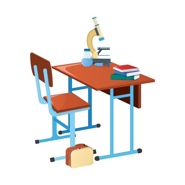 Bureau D'école Avec Manuel, Microscope Scolaire Et Flacon Scientifique Vecteur Premium