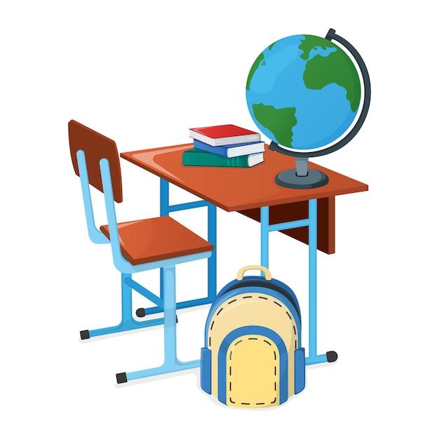 Bureau D'école Avec Manuel, Sac à Dos Scolaire Et Globe Vecteur Premium