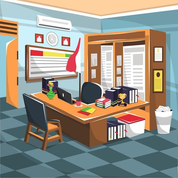 Bureau de l'enseignant avec placard et ordinateur Vecteur Premium