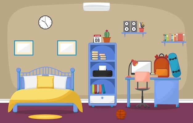 Bureau d'étude étudiant table chambre intérieur mobilier de chambre Vecteur Premium