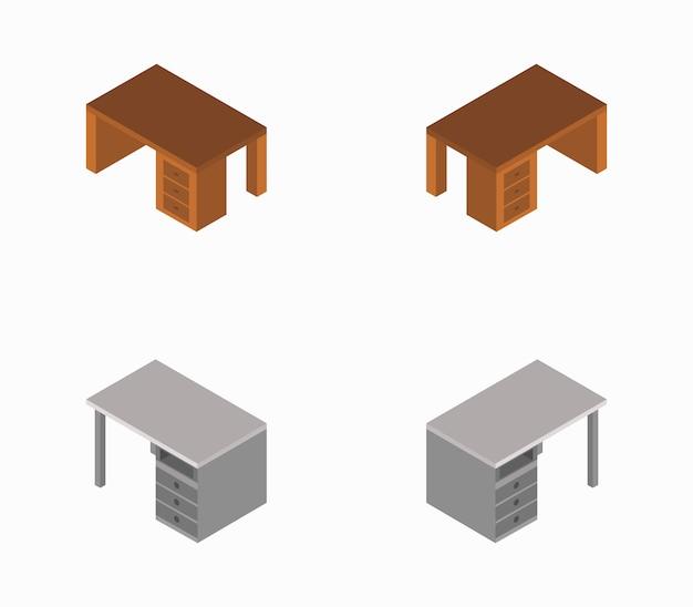 Bureau isométrique Vecteur Premium