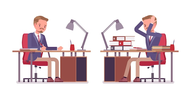 Bureau Masculin Fatigué Et Occupé Avec Un Travail De Papier Ennuyeux Vecteur Premium