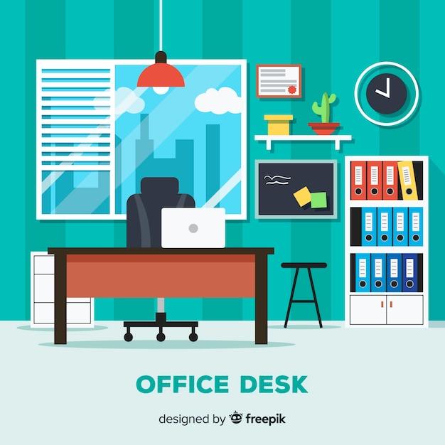 Bureau moderne avec design plat t l charger des vecteurs gratuitement - Bureaux modernes design ...