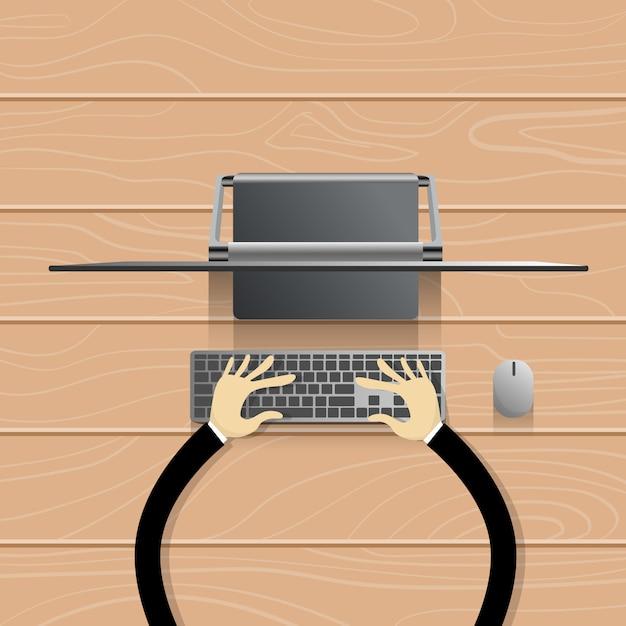 Bureau, moderne, ordinateur, station de travail, mains, clavier dactylographie Vecteur Premium
