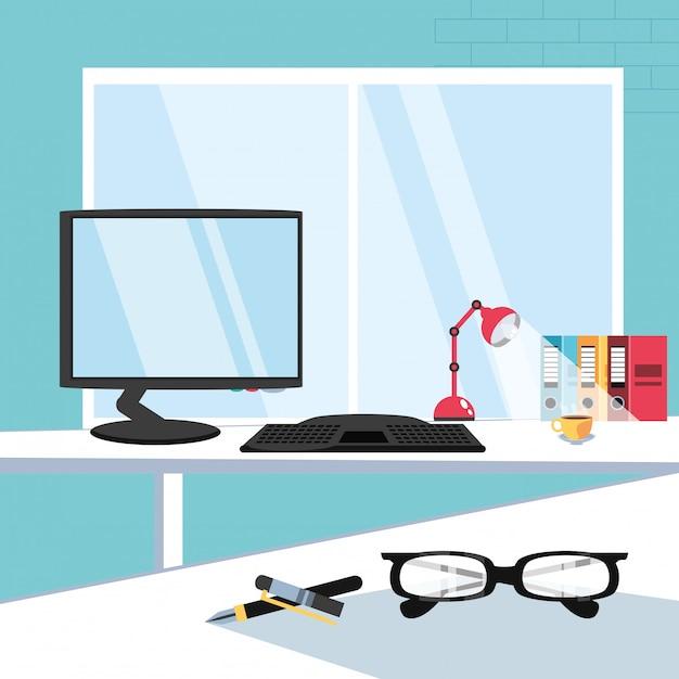 Bureau d'ordinateur avec bureau de fournitures sur le lieu de travail Vecteur Premium