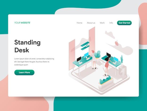 Bureau permanent dans l'espace de travail co isométrique pour la page web Vecteur Premium
