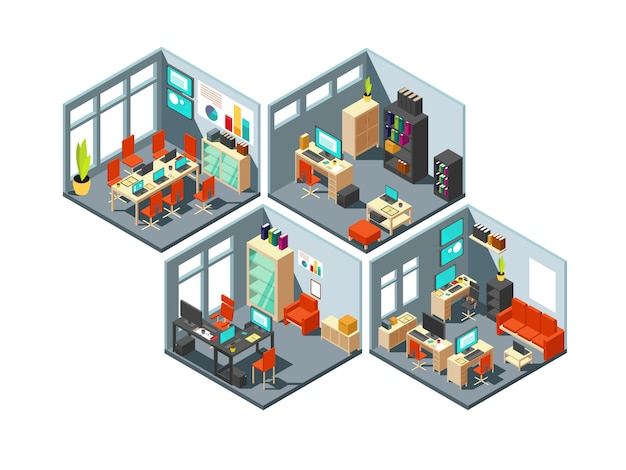 Bureaux d'affaires isométriques avec différents espaces de travail. Vecteur Premium