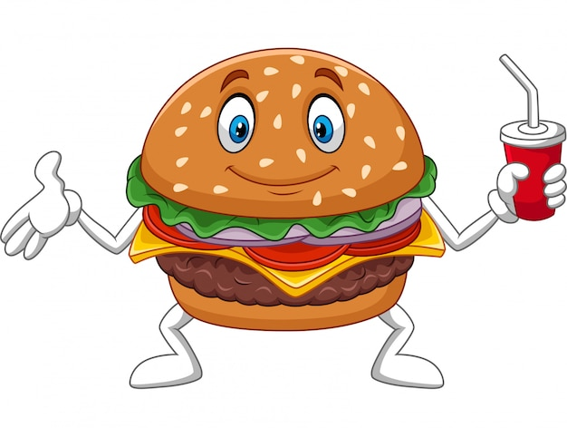 Burger de dessin animé tenant une tasse de soda Vecteur Premium