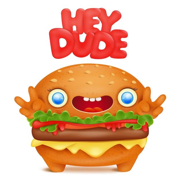 Burger emoji personnage mignon avec bon titre mec. Vecteur Premium